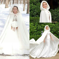 Wholesale hooded wedding dresses - 2017 Cheap Winter Faux Fur Cloaks Hooded Wedding Wraps White Floor-Length Fur Bridal Overcoats Wedding Dresses White Ivory Warm For Winter