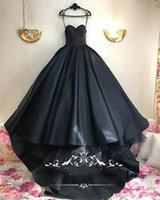 Wholesale White Matt Wrap - Gothic Black Design Ball Gown Wedding Dresses 2018 Plus Size Sweetheart Matt Satin Tulle Arabic Dubai Country Bridal Gowns Vestido De Novia