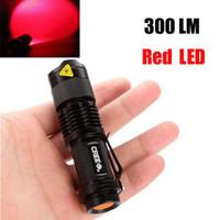 ingrosso lampadine ultrafire-Epacket gratuito, Lampadina a LED rossa Flash Light 7W 300LM CREE Q5 Torcia a LED per campeggio Torcia regolabile Focus Zoom torce impermeabili Lampada