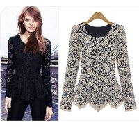 Wholesale sexy woman jumpers - Elegant&Sexy Women Long Sleeve Lace Peplum Jumper Top Blouse Hot Clothes Black Navy Beige 3 Colors