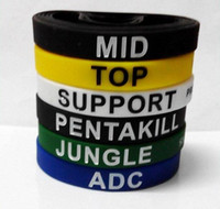 jeux de la jungle achat en gros de-1000pcs LOL GAMES Souvenirs Silicone Wristband LEAGUE de LÉGENDES Bracelets avec ADC, JUNGLE, MID, SUPPORT, TOP, Nouveau style Carving D216
