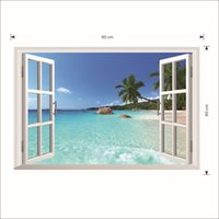 Wholesale Window Stones - Sea Water Stone Blue Sky Hill Coconut Tree Wall Decal Sticker 3D Window View Wall Art Mural Poster Decor Home Background Art