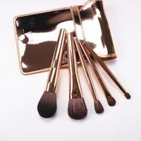 Wholesale goat fashion - Korean Fashion 5pcs Makeup Brushes Kit Gold Handle Goat Hair Cosmetic Brush Set With Gold Bag Blush Eye Shadow Brush