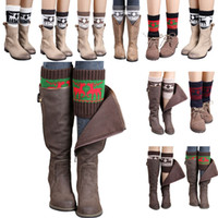 Wholesale Gloves Boots - Women Winter Knitted Leg Warmer Socks Christmas Elk Deer Boot Cover Cuffs Gaiters Short Socks 20 Styles OOA3623