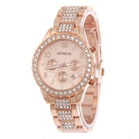 Wholesale Rose Gold Ladies Geneva Watch - Rose Gold Women Geneva Quartz Watch Ladies Luxury Crystal Rhinestone Dress Wristwatches Female Steel Diamond Analog Watches reloj