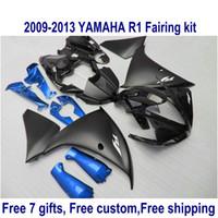 Wholesale matte black r1 fairings for sale - Group buy 7 free gifts fairing kit for YAMAHA R1 matte black blue fairings set YZF R1 HA63