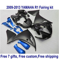 yamaha r1 mate negro al por mayor-7 regalos gratis kit de carenado para YAMAHA R1 2009-2013 carenados azul negro mate YZF R1 09 10 11 12 13 HA63