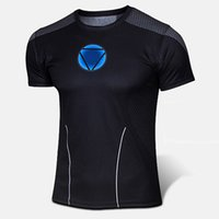 Wholesale Ironman Cycling Clothes - Wholesale-Cool Ironman Mens Sport Tight Jersey Shirt Men Athletics Cycling Suit Bodybuild Fitness Clothes US Anime Manga Cartoon Iron Man