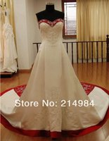 Wholesale Wedding Dress Simple Tied - Beaded A Line Wedding Dresses 2017 Newest Sweetheart Real Image Princess Tie Up Bridal Gowns Best Made W1471 Romantic Red and White Fashion