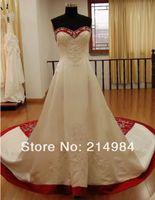 beste sexy bilder großhandel-Perlen A Line Brautkleider Neueste Schatz Real Image Prinzessin Binden Brautkleider Best Made W1471 Romantische Rote und Weiße Mode