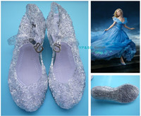 Atacado-Cinderella Verão Jelly Shoes Meninas Sandals Fancy Dress up Cosplay Dance Party sapato Light Blue Branco Rosa Khaki