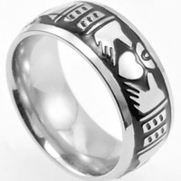 Wholesale Vintage Irish - Size 7-15 Claddagh Ring Stainless Steel Heat Irish Retro Vintage Antique Wedding Engagement Black Silver