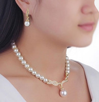 Wholesale cheap rose gold necklaces - Cheap Price Pearl Bridal Jewelry Sets Cream Faux Rhinestone Rose Gold Crystal Diamante Wedding Necklace and Earrings sets for women dr