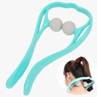 Wholesale Double Head Massager - Double Ball Roller Health Care Self Massager Pain Trigger Point Massage & Relaxation for Neck Shoulder Head Fitness Body Beaut Blue