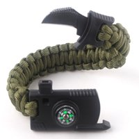 Wholesale Paracord Whistle Bracelet - Multifunction Paracord bracelet Handmade With knife whistle compass Outdoor campling emergency self-defense wristbands Rope Paracord 550