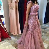Wholesale Dresses Cap Sleeve Heavy Beaded - 2016 Luxury Mermaid Evening Dresses With Heavy Rhinestone Beaded Cap Sleeves Detachable Skirt Arabic Dubai Fashion Formal Gowns Prom Wear