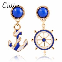 Wholesale White Gold Anchor Earrings - Blue White Navy Style Women's Elegant Gold Asymmetry Anchor Helm Earrings Long Dangle Rudder Stud Earrings Fashion Jewelry New