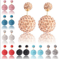 Wholesale Small Rhinestone Earrings - Shamballa Crystal Ball Double Sided Stud Earring Big And Small Two Pearl Jewelry Women Fashion Earring studs