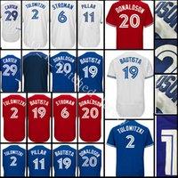 Wholesale Baseball Joe - stitched #19 Jose Bautista jersey Men 2 Troy Tulowitzki 6 Marcus Stroman 11 Kevin Pilar29 Joe Carter 12 Collection Jerseys