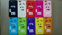 Wholesale Iphone Silicone 1pcs - 1pcs 3D Cute M&M MM Rainbow bean Chocolate cases silicone rubber cases shin cover for iphone 6