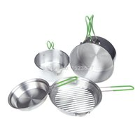 Wholesale Cw Cooking Pot - Wholesale-ALOCS 4pcs CW-C15 Super Lightweight Aluminum Outdoor Camping Hiking Cookware Backpacking Cooking Picnic Pot Pan Set 2-3Persons