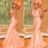Wholesale Cheap Long Peach Prom Dresses - Nigerian Guest Evening Dresses Lace Peach Mermaid Bridal Party Prom Gowns 2018 Plus Size Cheap Arabic See Through