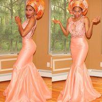 vestidos de noite da sereia do pêssego venda por atacado-Nigeriano Guest Evening Vestidos Lace Peach Mermaid Partido Nupcial Prom Vestidos 2018 Plus Size Barato Árabe Ver Através
