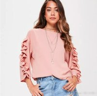 Wholesale Pink Ruffle Blouse Top - Three Quarter Sleeve Pink Blouse Shirt Women Tops Casual 2017 Summer Ruffle Shirt White Blouse Chemise Femme Blusas FS3156