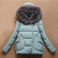 Wholesale Casual Faux Fur Hooded Pad - Wholesale-Clearance Women Jackets 2015 Casual Thick Warm Coat Solid Big Faux Fur Collar Hooded Cotton -Padded Jacket Outdoor Parkas Winter
