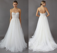 Wholesale Mira Zwillinger Wedding Dresses - 2016 Backless Wedding Dresses Mira Zwillinger Sexy Sweetheart A-Line Appliques Lace Beaded On Top Beach Bridal Gowns