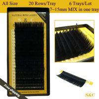 Wholesale Mixed Tray Eyelash - Wholesale-All size,6 cases set,7~15mm MIX ,20rows tray mink eyelash extension,natural eyelashes,individual eyelashes,false eyelash
