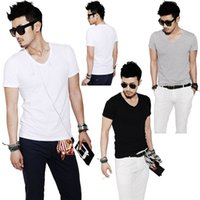Wholesale Slim Short Free Shipping - New Arrivals Men T-Shirt Tops Tee Cotton Blend Slim Fit V-Neck Short Sleeve Casual Fashion DX205 Free Shipping