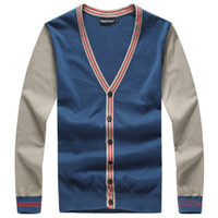 Wholesale Color Block Clothing - Wholesale-Size M-5XL (bust126cm) Autumn men's clothing V-neck thin cardigan sweater color block decoration plus size knitted sweater