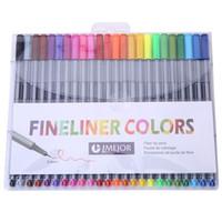 Wholesale Fiber Best Boxes - PrettyBaby 24 fineliners pens 24 colors pastel set best quality colorful marker pens arts painting pencils fiber tip pen children pens 0.4mm
