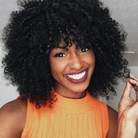erkek sentetik peruk siyah toptan satış-Moda Siyah Kadınlar / Erkekler sevimli Kısa Kıvırcık Saç Seksi Tam Peruk Sentetik Saç Peruk Erkekler Için Isıya Dayanıklı Afrika Amerikan Y talep