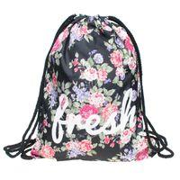 mochila estampada flores al por mayor-Retro Flores Nuevas Mujeres Bolsas de Cordón de Impresión Mochila de Las Mujeres de Moda bolsa de hombro Mochilas escolares escolares mochilas