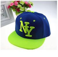 Wholesale Ny Baby - 2015 NY Kids Snapback Cartoon Embroidery Children Cotton Baseball Cap Baby Boys Girl Snapback Caps Hip Hop Hats Summer mx0772