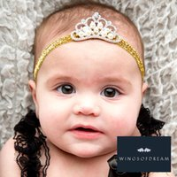 Wholesale Wholesale Korean Baby Headbands - 50pcs lot Newborn DIY Shiny Elastic Baby Headbands With Rhinestone Tiara Korean Boutique Girls Hair Accessories With Pearl Crown