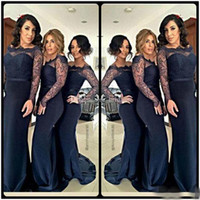 Wholesale Royal Groups - 2015 Navy Lace Long Sleeves Bridesmaid Groups Dress 2016 Sheer Neck Floor Length Mermaid Plus Size Maid Of The Bride Gown For Wedding