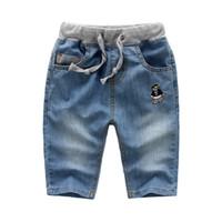 Wholesale Wholesale Little Boys Jeans - Wholesale-2016 summer little boys embroidery pocket styles jeans calf-length pants fashion drawstring casual short pants KZ-6827