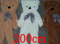 Wholesale Big White Teddy - 200cm Huge big plush Teddy bear shell coat without cotton Giant life size 68'' birthday gift 3 colors 2.0m