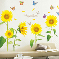 Wholesale Cartoon Sunflower Wall Decal - Sunshine Sunflower Butterfly Dancing in Summer Removable Wall Sticke Stickers DIY Kid's Child Room Decor Decal Stickers