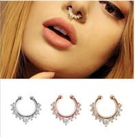 фальшивый нос оптовых-Diamond ложные нос кольцо c полюс ложные пирсинг носа украшения