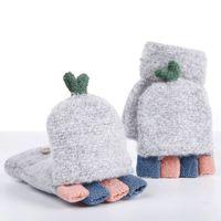 frauen strickhandschuhe großhandel-Womens Girls Knit Handschuhe Fäustlinge Winter Fingerlose Handschuhe Falten Tasche Mode Multicolor Patchwork Design Perfekte Weihnachtsgeschenk