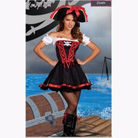 Wholesale Cute Women Halloween Costumes - Halloween Role of Sexy Cute Pirate Strapless and Boob Tube Top Bubble Skirt