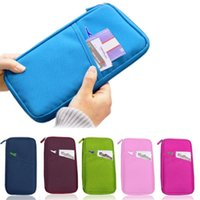 Wholesale Sky Blue Mp3 - Wholesale-6 Colors Card Cash Mp3 Stationery Travel Wallet Passport Ticket Organizer Purse Bag Case EQ7323
