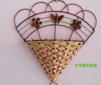 Wholesale Ceramic Wall Baskets - L size Pastoral rattan flower iron basket wall hangings Chlorophytum hung a wallflower flower vases sector