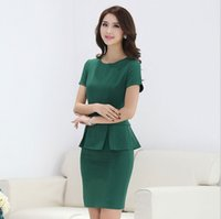 Wholesale Women Office Suits Designs - summer office uniform designs for women mini skirt suits 2015 business formal women work wear plus size xxxl green career suits