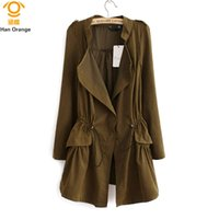 Купить Синее Зеленое Пальто-HanOrange 2017 Slim Waist Long Super Thin All-Match Fashion Lapel Single Button Женщины Trench Coat M / L / XL Хаки / Army Green / Blue