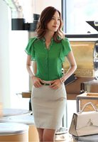 Wholesale Short Sleeve Shirt Office - Wholesale-tropical blusas femininas summer 2015 female shirts women tops beading korean office lady short butterfly sleeve chiffon blouse